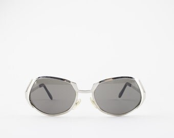 60s Vintage Sunglasses | Unique Oval Sunglasses with Silver Cutout | 1960s Sunglasses | Grey Glass Lenses | NOS Vintage Deadstock - Bowie XX