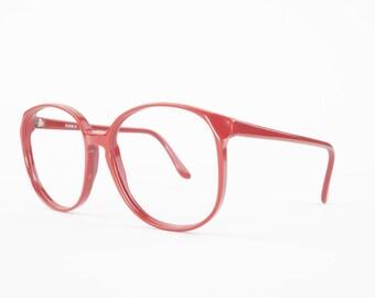 80s Vintage Glasses   Round Oversized Eyeglass Frame   Red 1980s NOS Eyeglasses - Rainbow Cherry