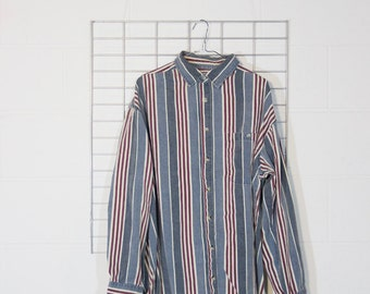 big super faded denim style vertical stripes pattern button shirt xl