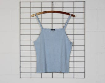 stretchy baby blue ribbed tank top