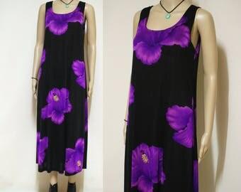 Vintage 90s Dress Semi Sheer Black Floral Grunge Hibiscus Bold Flower Print Boho Hippie Mid Length Vtg 1990s Size M-L