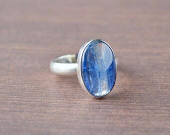 Simple Oval Kyanite Ring // Kyanite Jewelry // Sterling Silver // Village Silversmith
