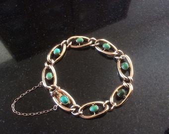 9ct Gold Turquoise Curb Bracelet Edwadian Belle Epoch