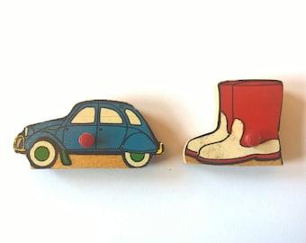 2 retro vintage Dutch wooden Simplex puzzle magnet blue car and boots