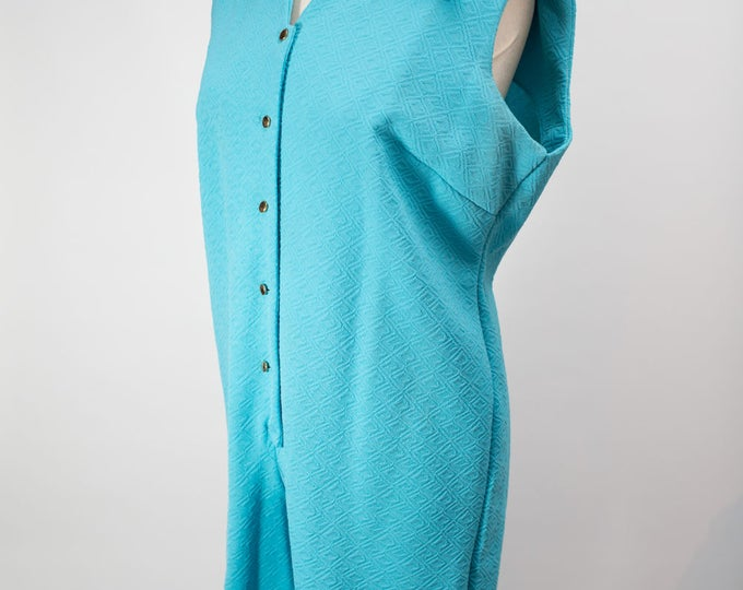 Vintage plus size ladies sleeveless sky blue jumpsuit with button up front and original tag by Leisure Ladies Originals / Made in Canada