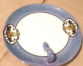 Vintage  Japanese Hand Painted Noritake China, Serving Plate/Candy Dish with handle, 1918-1940 Blue Iridescent