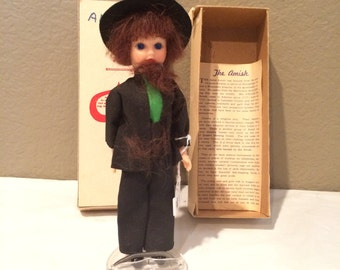 "Vintage 7"" Amish Man Doll with Original Box and Insert 1950's"
