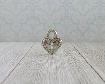 Lock Pin - Heart Pad Lock - Tie Tack or Lapel Pin