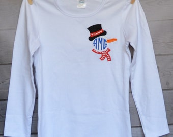 SnowMan with Hat & Scarf Pocket Monogram Applique Shirt or Onesie Boy or Girl