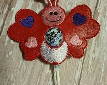 Love Bug Sucker Lollipop Holder - Valentine's Day - Valentine - Candy - Holder-  In The Hoop - DIGITAL Embroidery DESIGN