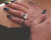 Mini Planchette Ring in Rainbow Moonstone, Labradorite, Black Moonstone