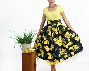 Maxi Skirt, High Waisted Skirt, Plus Size Skirt, Circle Skirt, 50's Skirt, Retro Skirt, Pin up Skirt, A-line Skirt, Lemon Print