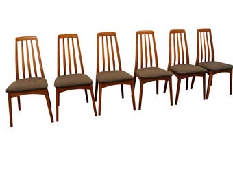 Set of 6 Mid-Century Danish Modern Kofoed Hornslet-Style Teak Dining Chairs