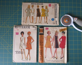 Sewing Patterns Ladies Retro Mod Casual Dress Patterns, Butterick 4818 & 4871, McCall's 9383 Misses Size 10 New Sizing Vintage 1960's