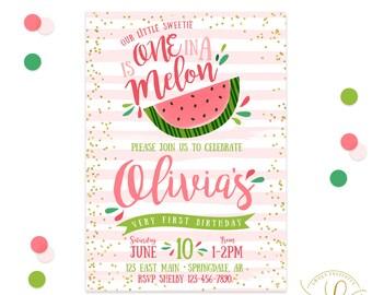 watermelon birthday   etsy, Birthday invitations
