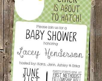 Baby Shower Invitation: Chick is about to hatch! (green)