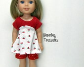 14 inch doll clothes AG doll clothes cherries top and red w/white dots shorts made to fit like wellie wishers doll clothes