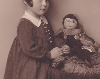 Antique c1930s Photograph - Little Girl With Doll