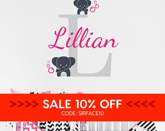 SALE • Personalised Name Initial & Elephants Wall Decal - Nursery Name Wall Decal - Elephants Vinyl Wall Sticker