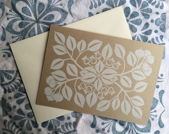 Hand Printed Manzanita Card / Block Print / Botanical / Stationary