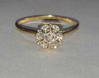 VINTAGE Dainty 14K Yellow Flower Diamond RING Size 5.5