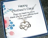 Mothers Day Gift - Mothers Day from Daughter from Son Mothers Day gift for Grandma Mothers Necklace Infinity Jewelry Happy Mothers Day Card