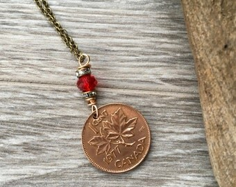 30th or 40th birthday gift, Canadian coin, necklace, 1977 or 1987 coin pendant, maple leaf, Canada, anniversary present for her, woman,