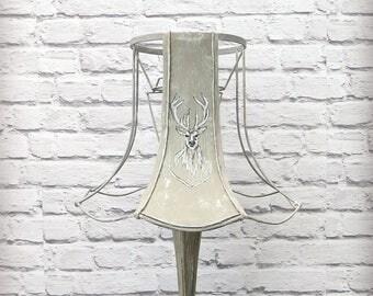 Stag's Head Skeleton Lamp Shade Handmade Rustic Grey Deer Horn