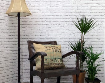 SOLDVintage Plantation Bergere Armchair in Wood and Handwoven Rattan with Coffee Sack CushionNOW SOLD