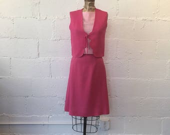 1960s Hot Pink Linen 2 Piece Set // 60s Pink Blouse, Vest, and Skirt Set // Vintage 1960s Sue Brett Pastel Hot Pink Suit