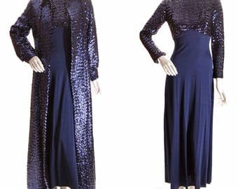 1960s Navy Blue Full Length Long Sleeve Hourglass Sequin Full Sweep Dress with Matching Set Fully Covered Sequin Jacket Coat