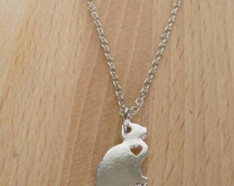 Cat Necklace with Heart Cutout