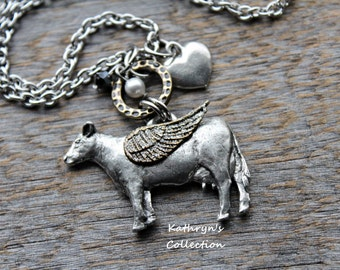 Cow Memorial Necklace, Cow Angel, Cow Mom, Pet Cow Memorial Jewelry