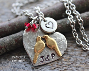 LoveBirds Necklace, Love bird Jewelry, Engagement Gift for Her, Gift for Wife, Gift for Girlfriend