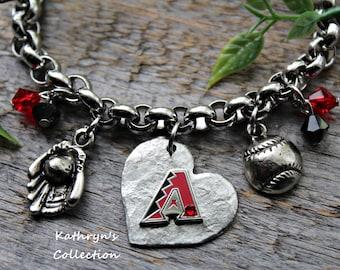 Arizona Diamondbacks Bracelet, Diamondbacks Jewelry, Dbacks
