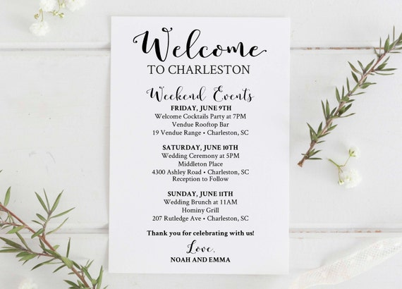 Wedding Welcome Bag Printable Editable Wedding Itinerary