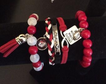 Georgia Bulldog stacked bracelet