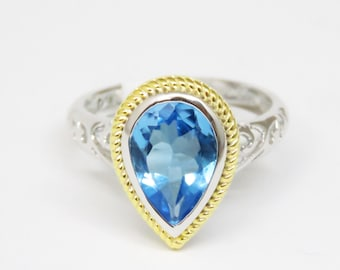 4276S Pear Shape Natural Blue Topaz Golden Halo Sterling Silver – Free Shipping US Only –