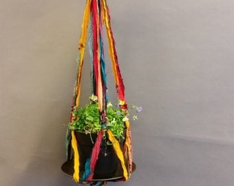 Plant Hanger, Decorative. Made From Re-Purposed Silk Sari Yarn Ribbon. Macrame Knots. Vintage Plate.
