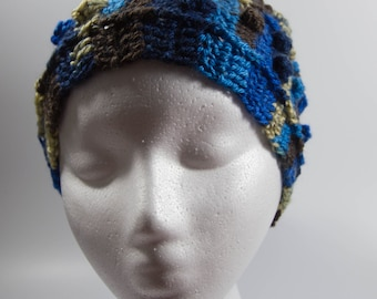 Blue and brown crochet ear warmer headband