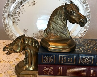 Vintage Pair Brass Finish Horse Head Bookends- Regal-Dramatic-Wild- Equestrian-Western-Cowboy-Stallion
