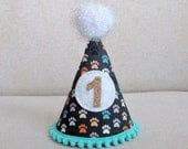 Dog Party Hat, Birthday Hat, Modern Paws (Dark Gray, White, Aqua, Beige, Orange), Dog Party Accessory
