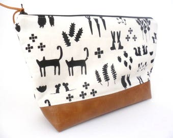 Large Zip Pouch, Nappy Holder, Toiletry Bag, Cosmetic Case, Animal Print, Faux Leather Bag