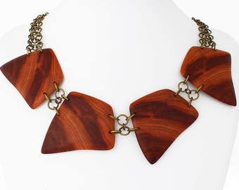 Wooden statement necklace,  big chunky necklace, bib necklace