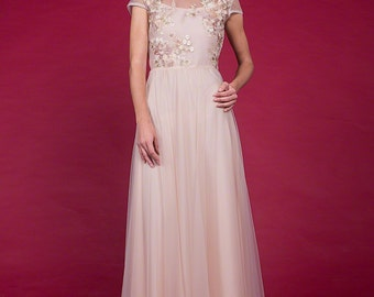 Champaign Tulle Evening Gown with Embroidered Top and Rhinestone Embellishment -Champaign Lace Evening Dress Maxi Dress Prom Dress C16A