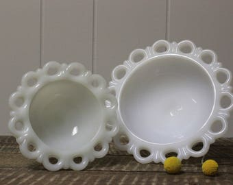 Anchor Hocking Milk Glass Lace Edge Pedestal Bowl Set of 2
