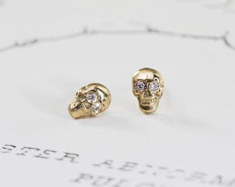 Gold Skull Stud Earrings with Diamond Eyes, 14k Gold Small Skull Studs, Memento Mori Gothic Delicate Jewelry, Festival Jewelry