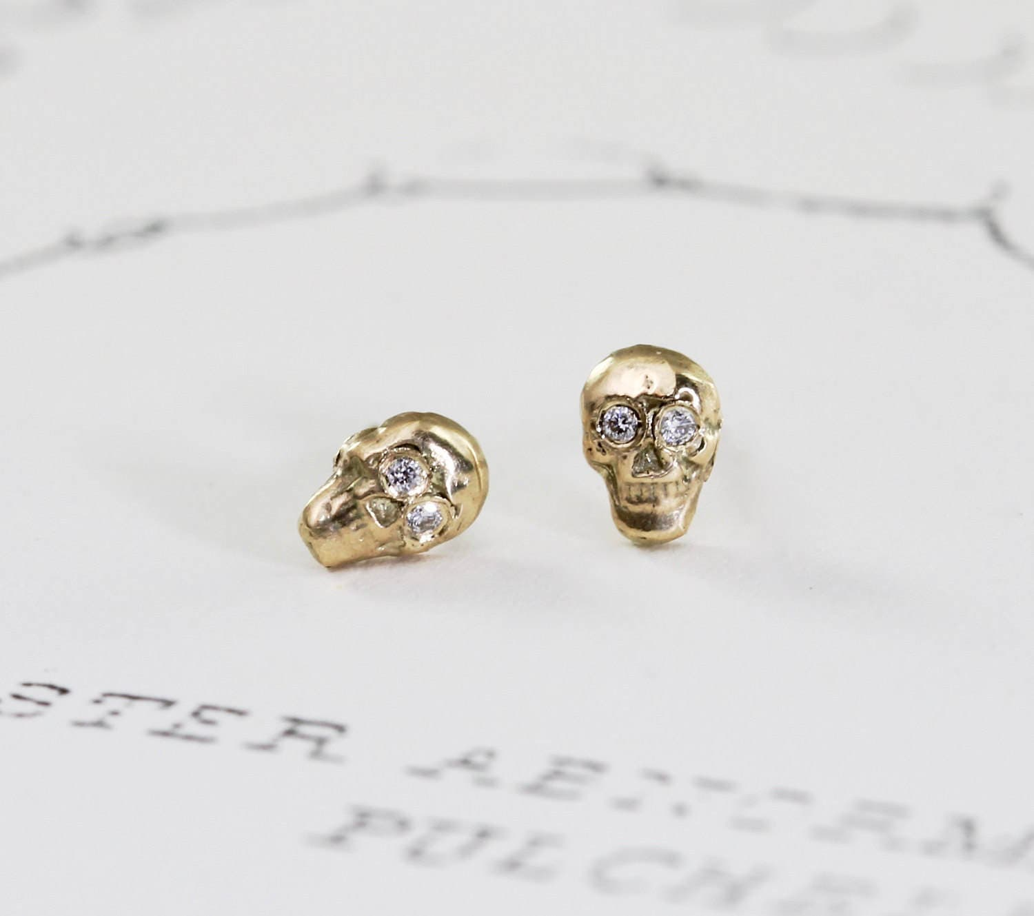 Gold Skull Stud Earrings with Diamond Eyes 14k Gold Small