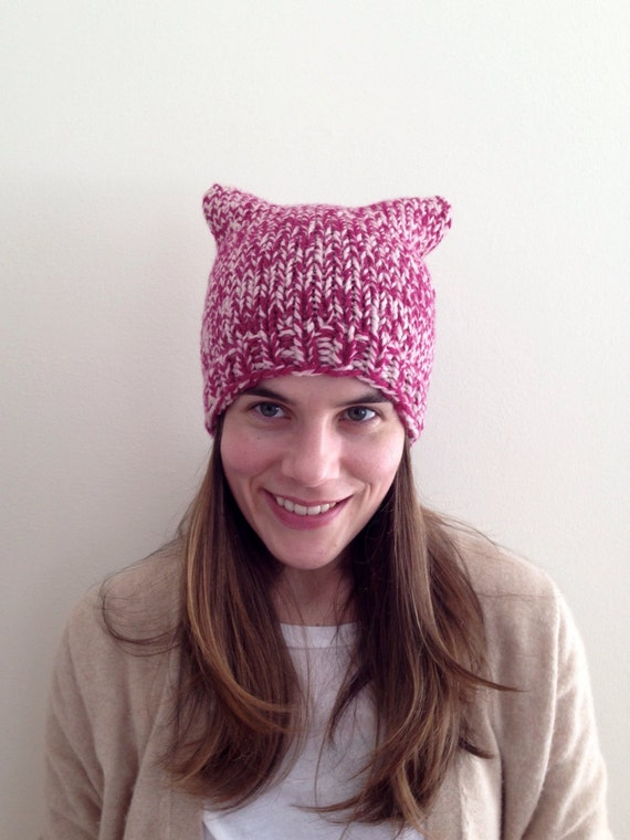 READY TO SHIP 100% wool marled knit raspberry pink cream pussy hat