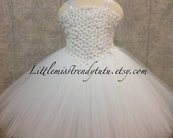 White Flower Girl Tutu Dress, White Couture Flower Girl Tutu, White Mini Wedding Dress, White Flower Girl Dress, White Tutu Dress, Baptism